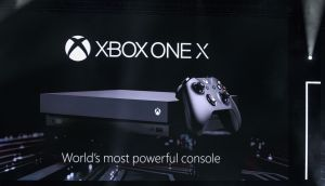 Microsoft's Xbox One X video game console is revealed during a Microsoft event ahead of the E3 Electronic Entertainment Expo in Los Angeles. Microsoft said the console will be its smallest and most powerful video-game console ever. Photograph: Patrick T Fallon/Bloomberg
