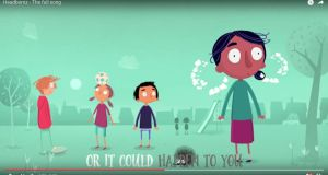 The 'Headbomz' video encourages children to express their feelings to a parent, a teacher or other trusted adult