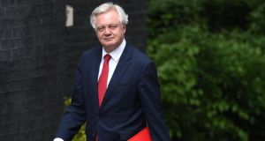 "Brexit secretary David Davis: ""They [Brexit talks] will start next week. The precise date will be given when we have it."" Photograph: Facundo Arrizabalaga/EPA"