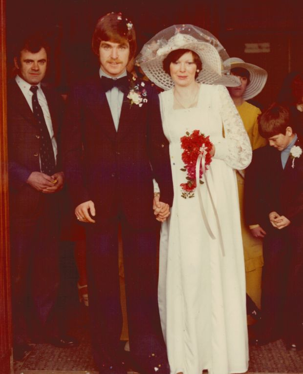 Father's Day: Phillip McMahon's dad, Edward McMahon, with his mum, Angela Lalor, on their wedding day, November 27th, 1976, at the Church of the Annunciation in Finglas, in north Dublin
