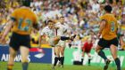 Jonny Wilkinson kicks the winning drop goal to give England victory in extra-time in  the Rugby World Cup Final against Australia in Sydney in 2003. Photograph:  Dave Rogers/Getty Images