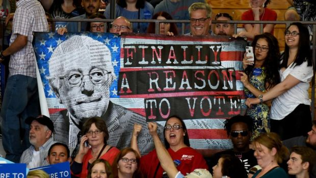 Feel the Bern: supporters at one of Bernie Sanders's campaign rallies, in 2016. Photograph: Ethan Miller/Getty
