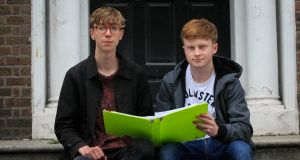 Leaving Cert students from CUS, Hugh O'Flaherty and  Kevin Boyle, preparing for their exams in  Dublin city centre. Photo: Gareth Chaney/Collins