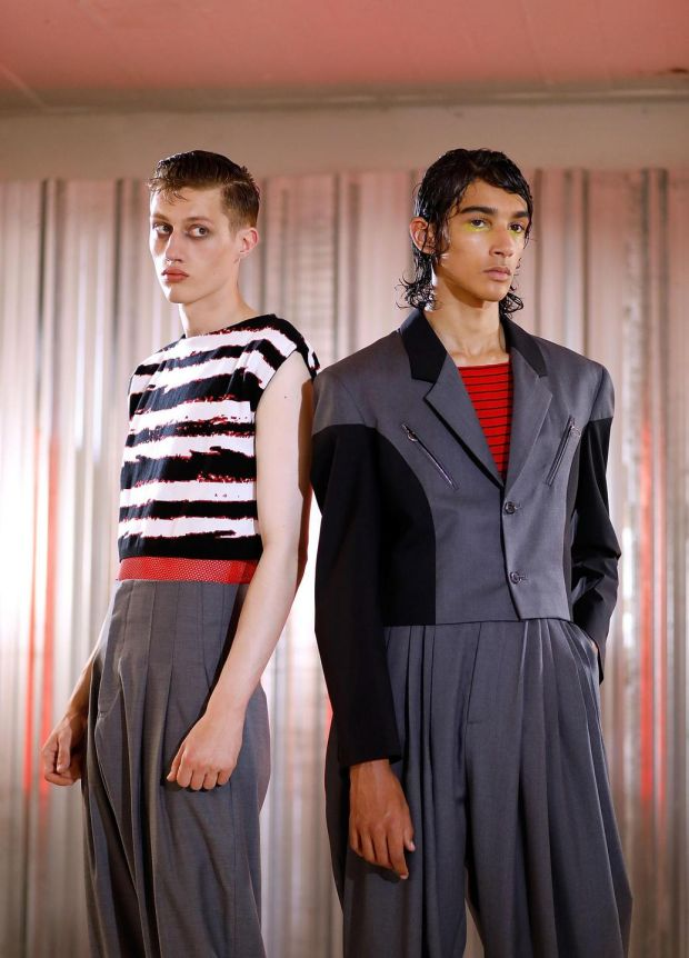 Modern Romantics: bold oversized tailoring from Topman. Photograph: Tristan Fewings/Getty Images
