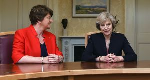 "DUP leader Arlene Foster  and UK prime minister Theresa May. The DUP  will not  accept policies to reduce state pension benefits or May's reactionary ""dementia tax"". Photograph: PA Wire"
