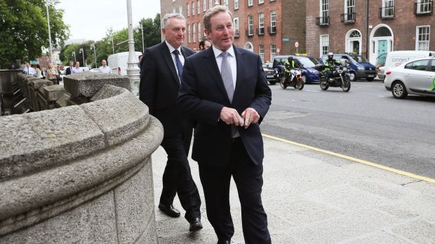 Enda Kenny arrives at Government Buildings, Dublin, for his last day as Taoiseach. Photograph: Brian Lawless/PA Wire