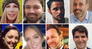 The eight victims of the London Bridge terrorist attack (top row, left to right): Canadian Christine Archibald, James McMullan, Alexandre Pigeard, French chef Sebastien Belanger; bottom row, left to right: Australian nurse Kirsty Boden, Australian Sara Zelenak, Xavier Thomas and Spanish banker Ignacio Echeverria. Photograph: Family Handout/PA Wire