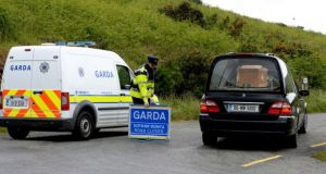 The scene at Military Road, Glencree, on Sunday. Photograph: Cyril Byrne