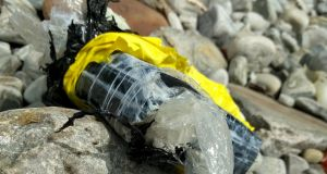 The package of cocaine that was washed ashore on Achill Island. Photograph: Tommy Schlather