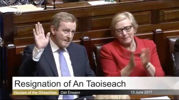 Enda Kenny acknowledges the applause from TDs in the Dáil following his final speech as Taoiseach.