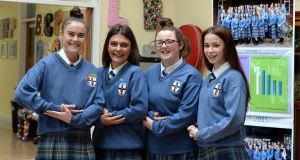 Students Caitlin Mc Gee, Abbie Doyle, Chloe Clifford and Chloe Delaney from Caritas College, Ballyfermot,  are sitting their childcare exam paper for the Leaving Cert Applied.  Photograph: Cyril Byrne