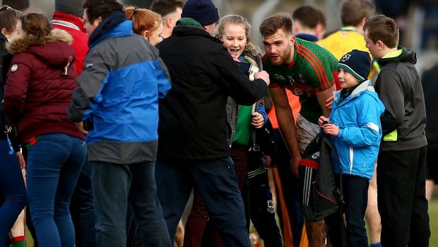 Aidan O'Shea meets fans after an Allianz League game in 2016. Controversy followed the Mayo man last month over selfies following a challenge game against Meath. Photograph: James Crombie/Inpho