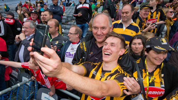 Kilkenny's Cillian Buckley poses for a selfie following the 2015 All-Ireland SHC final. Photograph: Morgan Treacy/Inpho
