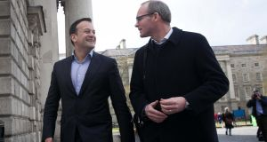Incoming Taoiseach Leo Varadkar with   Minister for Housing Simon Coveney, who he has appointed Fine Gael deputy leader.   Photograph: Collins