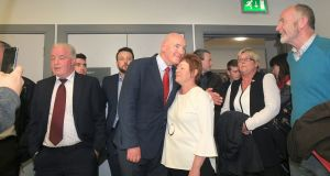 Mark Durkan of the SDLP with his wife, Jacqui, after losing his seat following the General Election count for Foyle. Photograph: Margaret McLaughlin