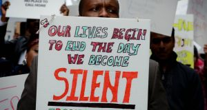 People  protest as part of a national day of action in 2013 to end direct provision.  Photograph: David Sleator