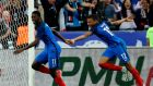 France's forward Ousmane Dembele celebrates his goal with Kylian Mbappe. Photograph: Getty Images