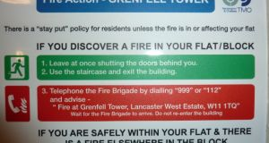 A fire safety warning at Grenfell Tower. Photograph: Grenfell Action Group