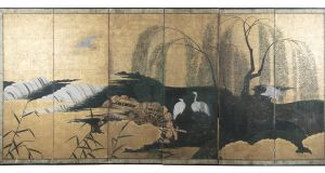 A 19th-century Japanese six-fold dividing screen