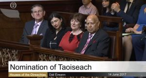 Members of Mr Varadkar's family listen to proceedings in the Dáil on Wednesday.
