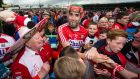 Cork's Stephen McDonnell celebrates with supporters after the victory over Tipperary in a classic encounter. Photograph: Cathal Noonan/Inpho