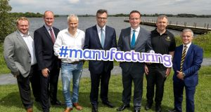 (Centre) Alastair Hamilton of Invest NI and Stephen Kelly of  Manufacturing NI  with (from left) David Nicholl of NC Engineering, Armagh; Alan Stewart of Marcon Fit-Out, Antrim; Dave Smith of Principal Cooling, Tyrone; Joe McGirr of The Boatyard Distillery, Fermanagh; and Ross Armstrong of Armstrong Medical, Co Derry