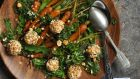 Roast carrot salad with goats' cheese and carrot top chimichurri