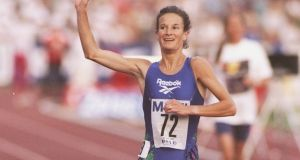 Sonia O''Sullivan of Ireland celebrates winning the mile run in 2004 at the IAAF/Mobil Bislett Games in Oslo, Norway. Photograph:  Mike Hewit/llsport