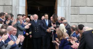 Leo Varadkar after he was elected Taoiseach on Wednesday, at Leinster House.  Photograph: Collins Photos