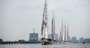 The Clipper Round the World yachts return to London in a victory parade in 2014 after sailing 40,000 nautical miles in the world's longest ocean race. Photograph by Matthew Lloyd/Getty Images)