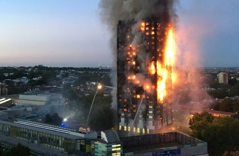 Image received by local resident Natalie Oxford  shows flames and smoke coming from a 27-storey block of flats after a fire broke out in west London. The fire brigade said 40 fire engines and 200 firefighters had been called to the blaze in Grenfell Tower, which has 120 flats. Photo: courtesy of AFP/Getty Images