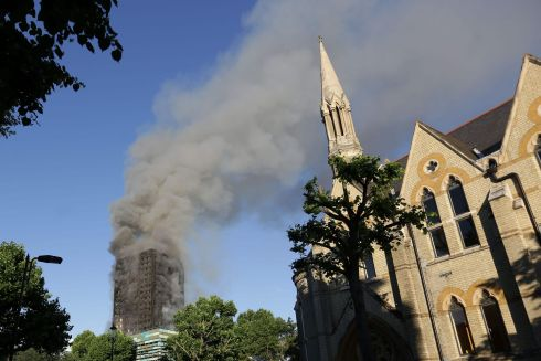 Smoke billows from Grenfell Tower. Photograph: Getty