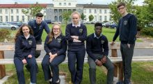 'Irish Times' Leaving Cert diarists from Coláiste Éinde, Galway. From left, Muireann O'Reilly, Evan Murphy, Ciara Kilbane, Lauren Conway, Osas Aghabueze-Ayo and Tom Crumlish. Photograph: Joe O'Shaughnessy