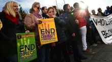 A United Against Racism rally in Dublin last November calling for an end to the direct provision system for asylum seekers. Photograph: Dara Mac Dónaill
