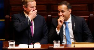 'At this stage, Enda Kenny's hands were getting more animated with his asides. We didn't know whether he was giving Leo tips about government or explaining the size of a fish he caught.' Photograph: Maxwell Photography