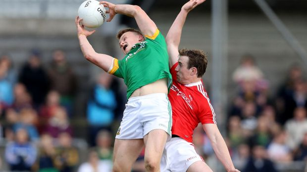 Ronan Jones catches a kickout against Louth. Photograph: Inpho
