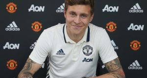Victor Lindelof has signed a four-year deal with Manchester United. Photograph: John Peters/Man Utd via Getty