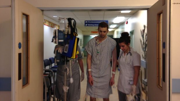 Conor taking his first steps on the morning after major surgery