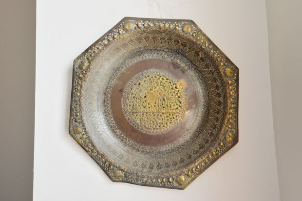 The vintage brass plate Heffernan bought in Melbourne. Photograph: Alan Betson