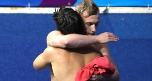 Jack Laugher and Chris Mears of Great Britain celebrate at the Rio 2016 Olympic Games. Photograph: Al Bello/Getty Images