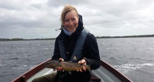 Maren Scheyhing from Stuttgart, Germany, with her first ever Mask trout