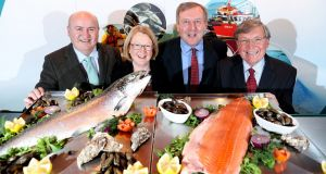 Aquaculture Review Group, from left, Lorcán Ó Cinnéide. Mary Moylan, Minister Creed and Ken Whelan