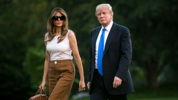 Melania Trump at the White House: the first lady arriving on Sunday. Photograph: Al Drago/New York