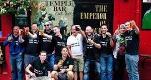 A stag party pictured in Temple Bar, Dublin. Photograph: Aidan Crawley