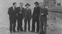 John Ryan, Anthony Cronin, Brian O'Nolan, Patrick Kavanagh and Tom Joyce on Sandymount Strand on the 50th-anniversary of Bloomsday, June 16th, 1954.