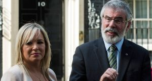 Sinn Féin president Gerry Adams and the the party's leader in Northern Ireland Michelle O'Neill  address the media following a meeting with Theresa May at 10 Downing Street. Photograph: EPA/Will Oliver