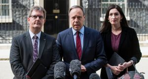 DUP deputy leader Nigel Dodds (centre) with colleagues Jeffrey Donaldson and Emma Pengelly after a meeting with British prime minister Theresa May at 10 Downing Street. Photograph: EPA/Will Oliver