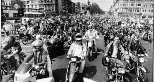 Motorcyclists crossing O'Connell Bridge in Dublin  during a demonstration organised by Motorcyclists Against Discrimination (MAD) to draw attention to the high cost of their insurance. Photograph: Peter Thursfield