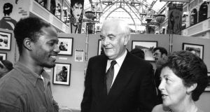 Fr Jack Finucane  at the opening of an exhibition of Ethiopian photographs in 1995. Photograph: David Sleator