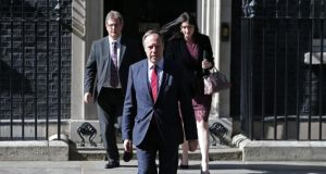 DUP politicians Jeffrey Donaldson, Nigel Dodds and Emma Pengelly emerge from 10 Downing Street on Thursday after after holding talks with Theresa May. Photograph: Daniel Leal-Olivas/AFP/Getty Images